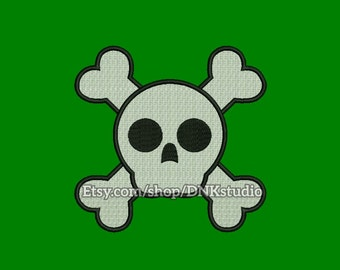Cute Skull Embroidery Design - 5 Sizes - INSTANT DOWNLOAD