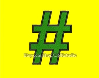 Hashtag Embroidery Design - 5 Sizes - INSTANT DOWNLOAD