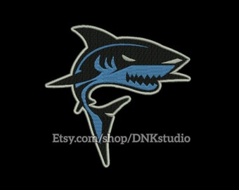 Shark Embroidery Design - 5 Sizes - INSTANT DOWNLOAD