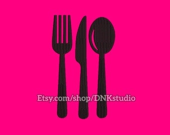 Knife fork and spoon Embroidery Design - 5 Sizes - INSTANT DOWNLOAD