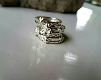 Sterling Silver barnacle, star ring made to order, stacking ring beach themed.