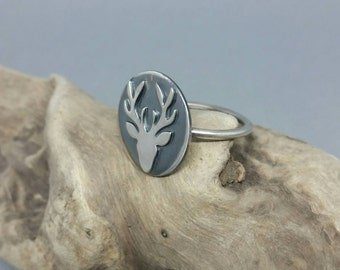 Sterling silver stag ring, deer ring, antlers, silver jewellery, Hart ring, stacking ring, uk seller