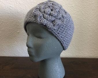 Grey Flower Headwarmer | Button Earwarmer | Grey Headband