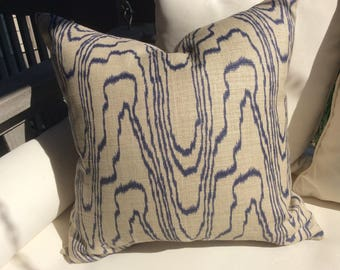 "Kelly Wearstler for Groundworks and Lee Jofa Pillow Cover in Salmon ""Slate"" Swirl Linen, Ivory Linen Backing, Choose Size"