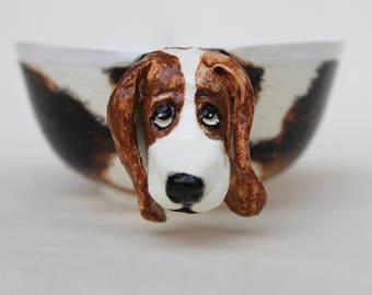 Basset hound Ceramic Bowl, Basset mug, sculptured dog Art bowl, salad bowl, cereal bowl, children tableware, Basset hound Soup mug