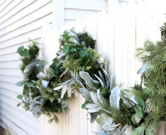 SALE 9ft Winter Garland Mixed Greens Garland Fireplace Mantle