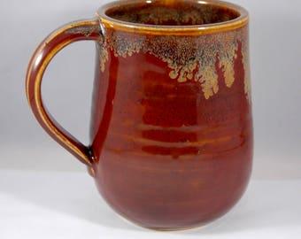 Red Mug-Ceramic Mug-Red and Gold Mug-Pottery Mug-Handmade Ceramic Mug-16oz Mug-Big Mug