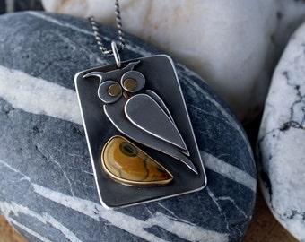 Silver Gold Owl Pendant