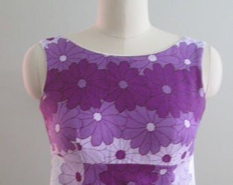 Vintage Ui-Maikai Hawaiian Barkcloth Long Dress Purple Flowers/Mad Men Megan Draper/Size XS/XXS  Circa 1960's #17080
