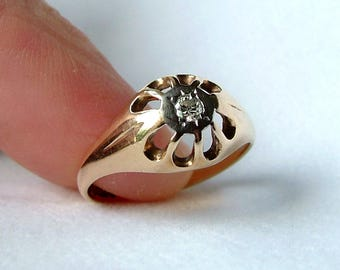 Diamond Gold Belcher Ring * 9ct Gold Diamond Belcher Ring * 9k Gold Diamond Ring * Diamond Solitaire Ring * Diamond Ring
