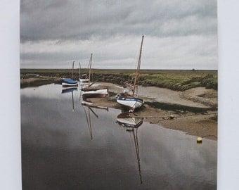 "Blakeney Norfolk photo print mounted on wood.  8x8"""