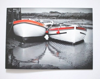 "Boats Greeting Cards - pack of five, size 5x7"" blank inside"