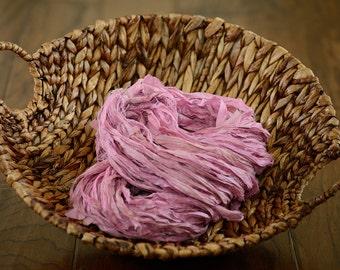 "Sari Silk Ribbon 5 yards  ""Cotton Candy""- Free Trade Product - Hand Dyed Recycled Sari Silk Ribbon- Textile Arts - Fiber Arts OOAK"
