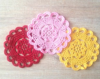 Lace Crochet coasters, 6 inches doilies, small coasters, Doilies table savers, Flower motif doilies, coworker gift, christmas gift,