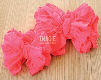 Messy Ruffle Bow Headband - Shocking Neon Pink
