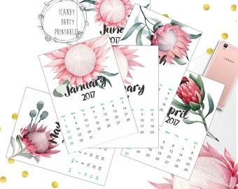 Printable Calendar 2017   Floral Calendar   Watercolor Wall Calendar   Instant Download, Digital 2017 Calendar