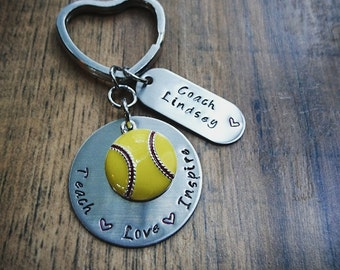 Hand Stamped Softball Coach Keychain - Personalized Coach Gift - Coach Keychain -