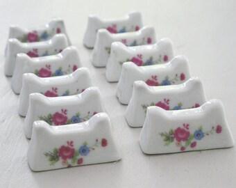 12 Floral Porcelain Knife Rests, Ceramic Knife Rests in Box, French Tableware