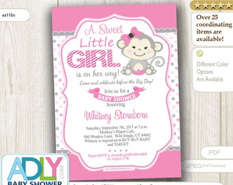 Girl Monkey Baby Shower Invitation,Girl Monkey baby shower in pink, gray, polka dots- digital file only - aa11bs