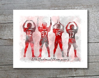 PRINT (8x10 AND 11x14)   Ohio State Buckeyes National Champions    Watercolor Style Print Part 87