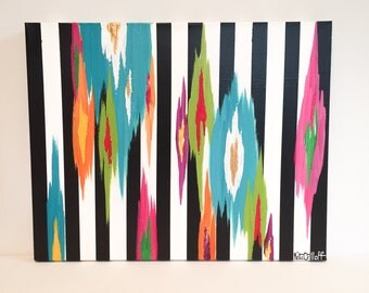 """Original abstract painting by Rita Ortloff 16""""x20""""x2"""" - """"Sparks & Stripes"""""""