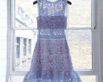 Dress, Self portrait dress, selfportrait dress, lace dress, blue lace dress, mr. self portrait