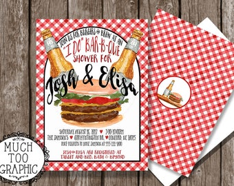 I Do Barbeque Cookout Shower Engagement Party Couples Burgers & Brew BBQ Watercolor Style Birthday Coordinating Back CUSTOM