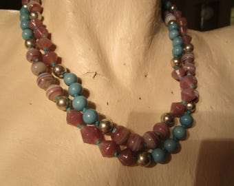 """vintage endless 40""""beaded necklace in mainly glass beads in lilac and turquoise in nice condition"""