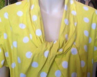 Gorgeous 1940s/50s Yellow & White Polka Dot Day Dress!
