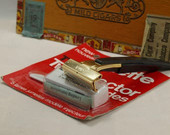 Schick Type L1 Gold Plated Injector Razor with Rare NOS Gillette Trac II Twin Injector Blades