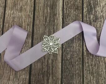 Lavender sash, Flower girl sash, childrens sash, wedding sash, rhinestone sash, dress sash