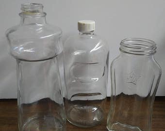 Set of 3 vintage bottles from 1940's glass