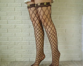 Lace knit socks Women Thigh High Stockings  Mesh Knitted Floral Socks, Beautiful Hold-Up Stockings, Fishnet stockings, High fashion tights