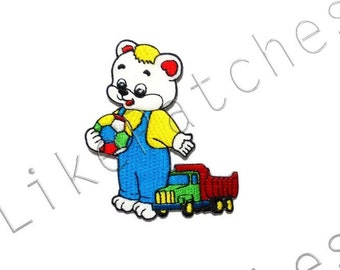 Baby Cute Bear with Toys New Sew / Iron On Patches Embroidered Applique Size 6.5cm.x7.7cm.