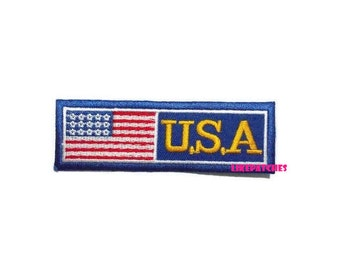 U.S.A American Flag Blue Patch New Sew / Iron On Patch Embroidered Applique Size 9.9cm.x3.2cm. #