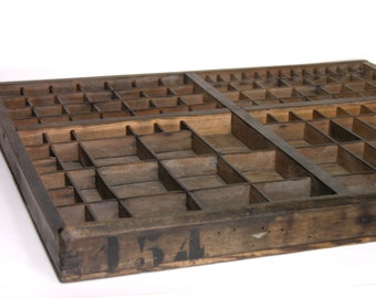 French Typographical Antique Letterpress Drawer - Curio Display - Wooden Printers Type Tray - Made in France - Industrial Home Decor