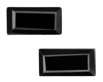 Thai Black Spinel Baguette Cut Loose Gemstones Set of 2 1A Quality 6x3mm TGW 0.85 cts.