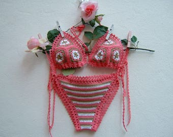 Cotton crochet bikini pink, ecru and white-striped two piece triangle-Slip crochet-knit granny Bra
