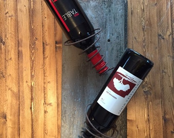 Salvaged Barn Wood Wine Rack * Wall Mounted Wine Holder * Rustic Modern *