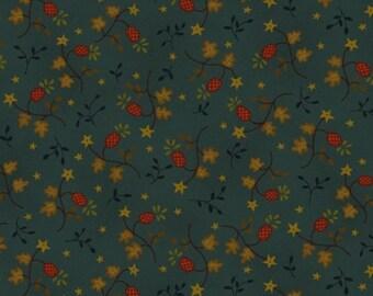 Katie's Cupboard Fabric  Teal Leaves # 6676-77