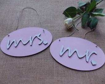 Wedding sign set pink - wedding accessoires, wedding decoration, bridal couple, wedding sign