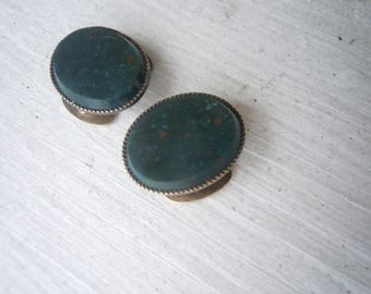Incredible Pair of Victorian Bloodstone and 14K Gold Waistcoat Buttons