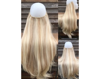 "HALO hair extensions, flip in hair, layered 24"" long mixed bleach/dark blonde 18/613 synthetic 190g thick HEXY secret wire or one piece clip"