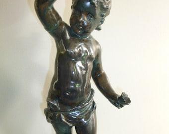 Beautiful French Art Nouveau figural bronze spelter marble putti cherub lamp torch globe – circa 1910