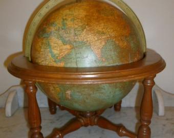 French table terrestrial globe wood frame brass George F Cram Co USA circa 1940