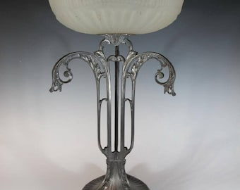 Art Nouveau German WMF silver plated and frosted glass center piece dish lion feet circa 1910
