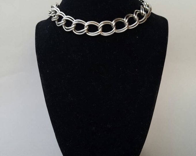 Big silver chain choker Monet big extra large open waved curb link chain choker silver tone choker chain choker