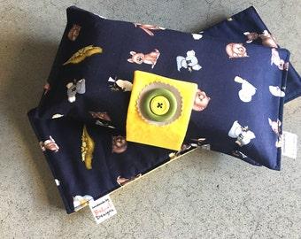 Baby or toddler Nappy Wallet/Changemat. Australiana fabric design. Custom made to create a unique item for you & your baby.Made to order.