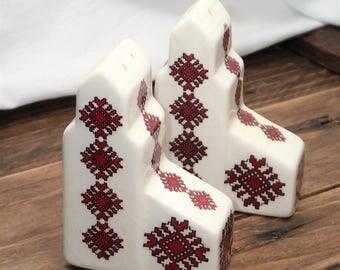 "Vintage Salt and Pepper Shakers - Ukrainian, Vyshyvanka Design Salt Pepper Shakers - Red / White Salt & Pepper  ""PYSANKY"" Season Shakers"