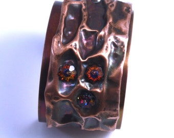 Copper & Crystal Fold-Formed Cuff Bracelet with Patina